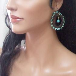 Magic Moon Blue Turquoise Stone Cotton Roop Hoop Earrings (Thailand) - Thumbnail 2