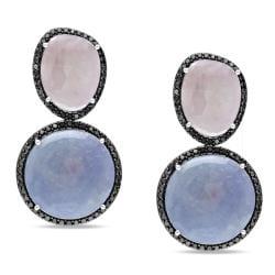 Miadora 14k White Gold Blue, Pink Sapphire and 2ct TDW Black Diamond Earrings