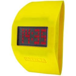 Invicta 'Specialty' Yellow Silicone Cuff Watch