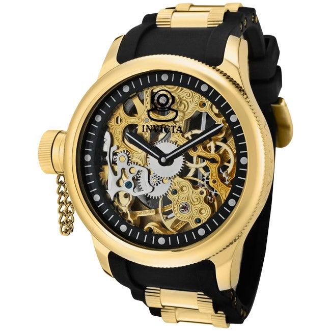 Invicta Men's 'Russian Diver' Black Polyurethane Watch