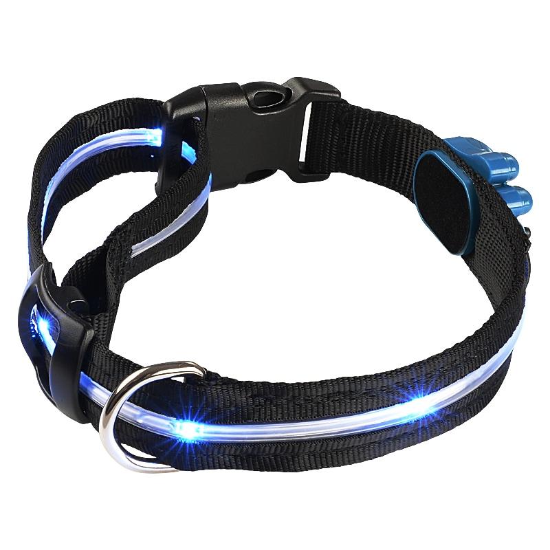black dog collar with 6 led flashing lights free. Black Bedroom Furniture Sets. Home Design Ideas
