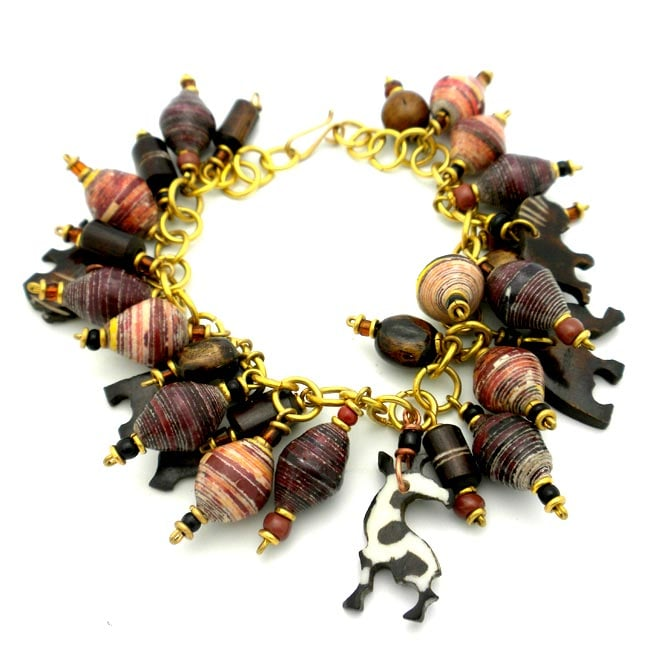 Animal Charm Bracelet with Paper Beads (Kenya)