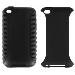 Black/ Black Hybrid Case for Apple iPod Touch 4th Generation - Thumbnail 1