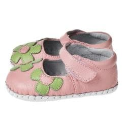 Little Blue Lamb Hand-stitched Pink/ Green Leather Infant/ Toddler Walking Shoes - Thumbnail 1