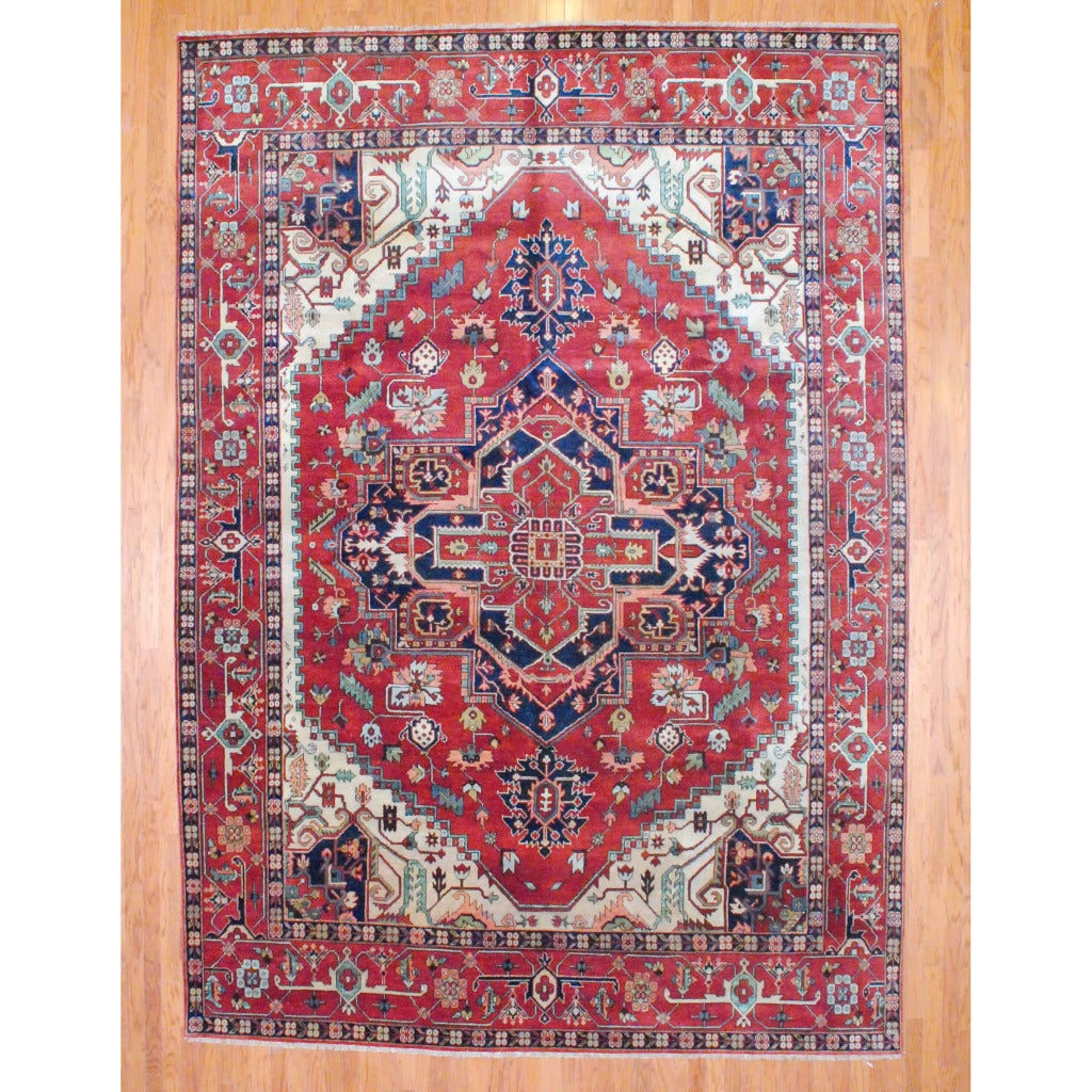 Indo Hand-knotted Serapi Rust Wool Rug (10' x 14'2)