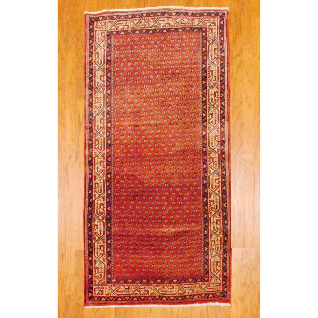 Persian Hand-knotted Hamadan Rust/ Ivory Wool Rug (3'10 x 7'7)