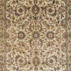 Indo Hand-knotted Mahal Beige/ Gold Wool Rug (6' x 9') - Thumbnail 1