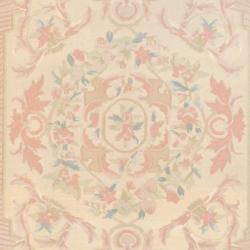 Indo Hand-knotted Kilim Beige/ Peach Wool Rug (6' x 8'10) - Thumbnail 1