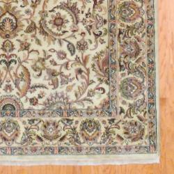 Indo Hand-knotted Mahal Beige/ Gold Wool Rug (6' x 9') - Thumbnail 2