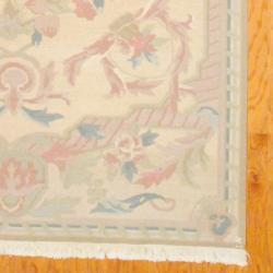 Indo Hand-knotted Kilim Beige/ Peach Wool Rug (6' x 8'10) - Thumbnail 2