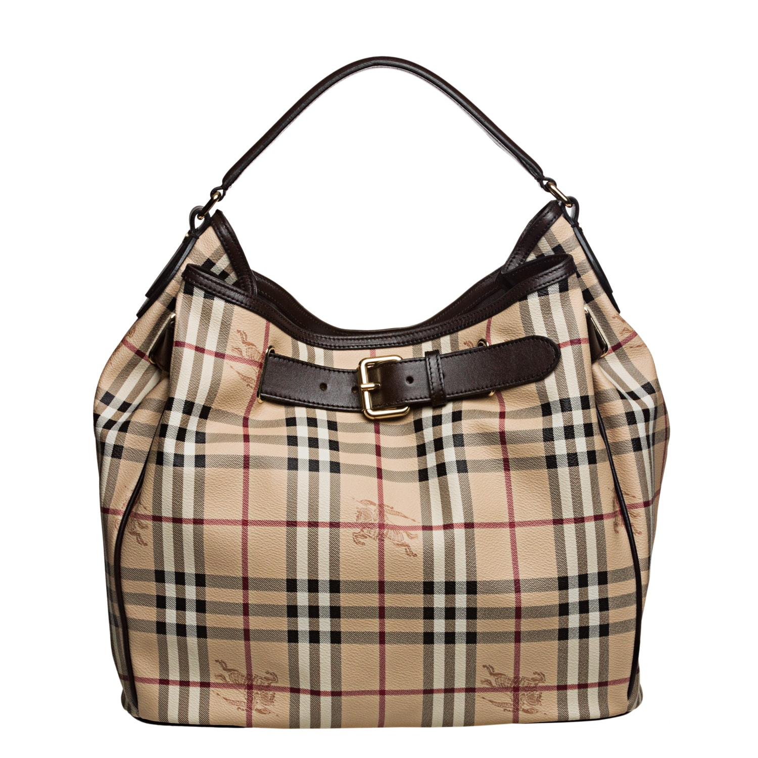 Burberry Medium Haymarket Check Belted Hobo Bag Free Shipping