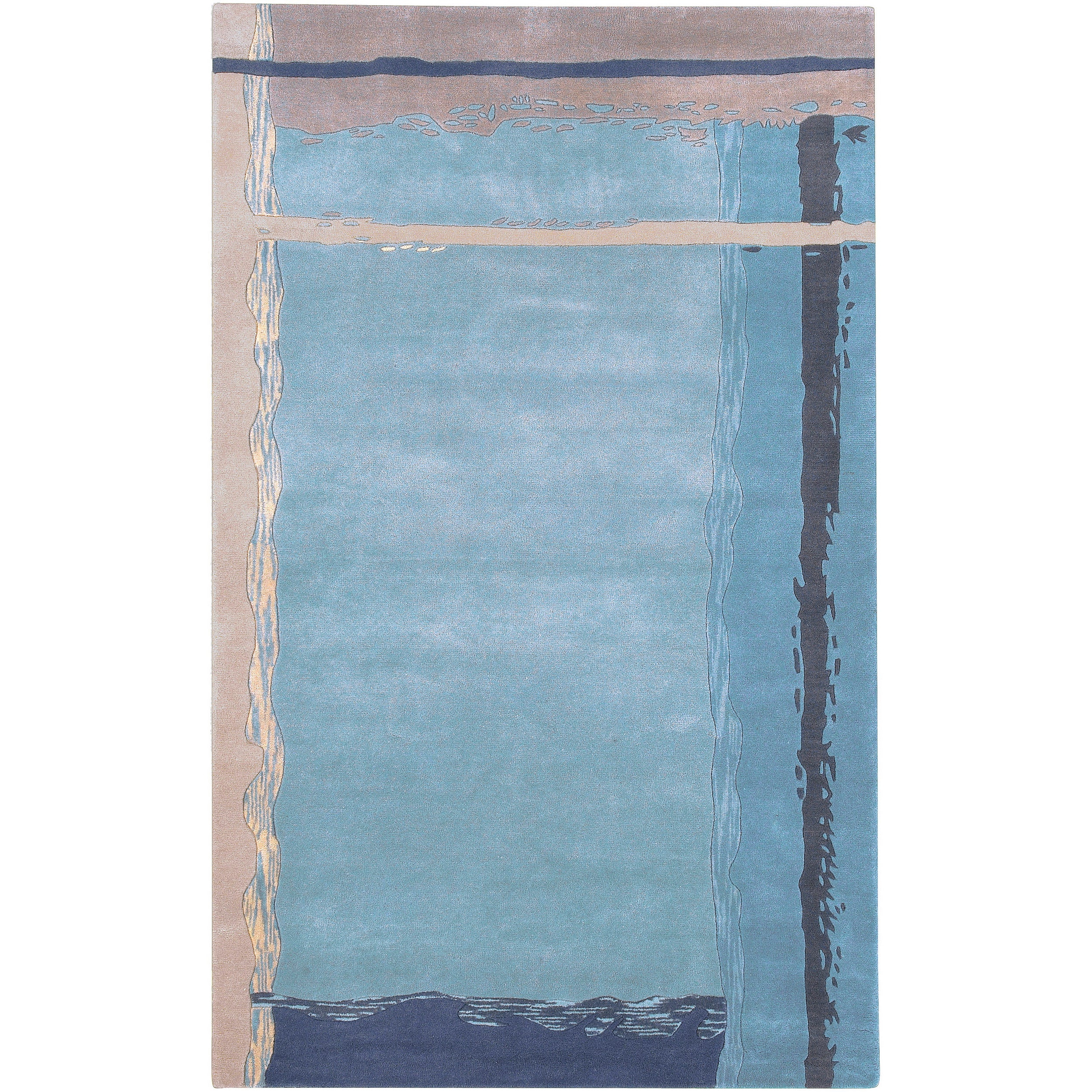 Hand-tufted Blue Contemporary Stars New Zealand Wool Abstract Rug (5' x 8')