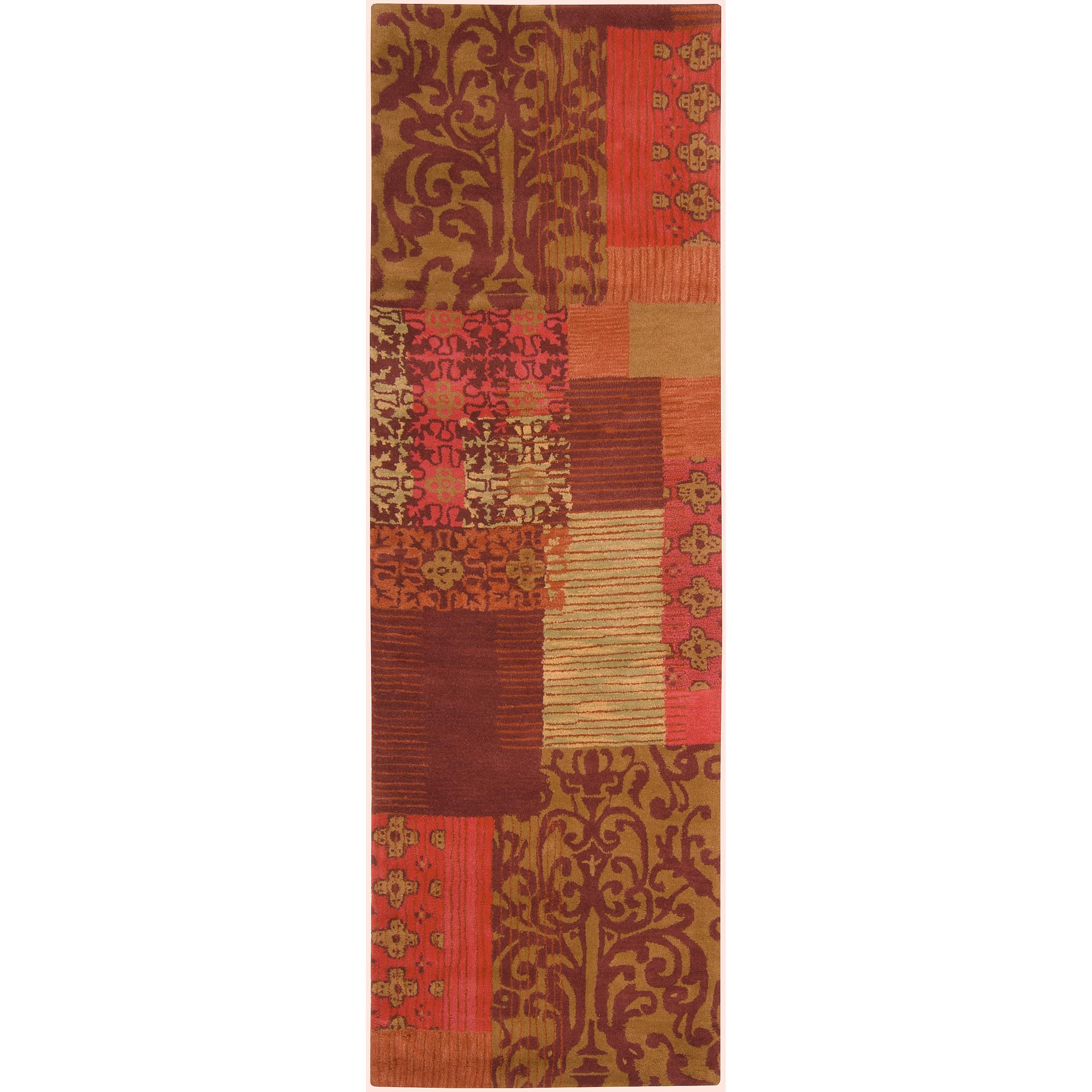 Hand-tufted Burgundy StarsII New Zealand Wool Rug (2'6 x 8')