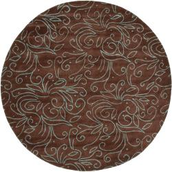 Hand-tufted Brown Artistic New Zealand Wool Rug (5'9  Round)
