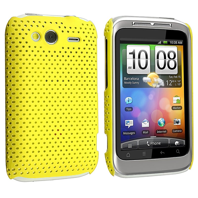 Yellow Meshed Rear Snap-on Rubber Coated Case for HTC Wildfire S