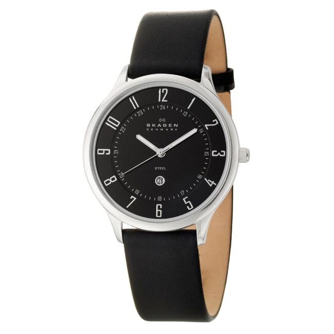 Skagen Men's 'Classic' Stainless Steel Black Leather Watch