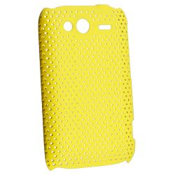 Yellow Meshed Rear Snap-on Rubber Coated Case for HTC Wildfire S - Thumbnail 1