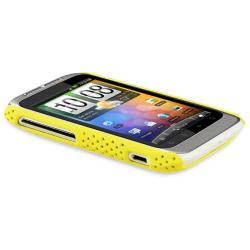 Yellow Meshed Rear Snap-on Rubber Coated Case for HTC Wildfire S - Thumbnail 2