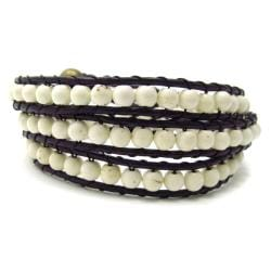 White Turquoise Stones Triple Wrap Leather Bracelet (Thailand)