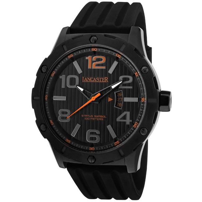 Lancaster Italy Men's 'Trendy/Status Symbol' Black Silicone Watch
