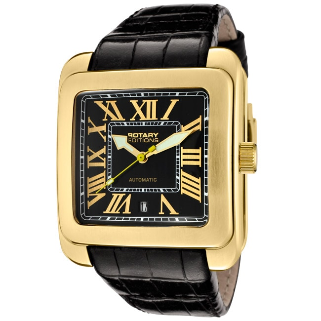 Rotary Men's 'Editions/700 Series' Black Leather Watch
