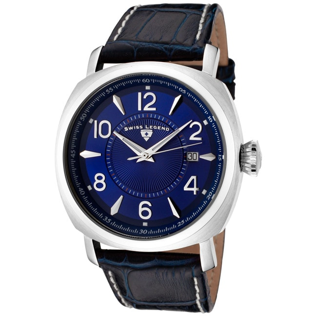 Swiss Legend Men's 'Executive' Dark Blue Leather Watch