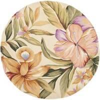Safavieh Hand-hooked Botanical Ivory Wool Rug (3' Round) - 3' x 3'