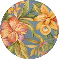 Safavieh Hand-hooked Botanical Blue Wool Rug (4' Round)