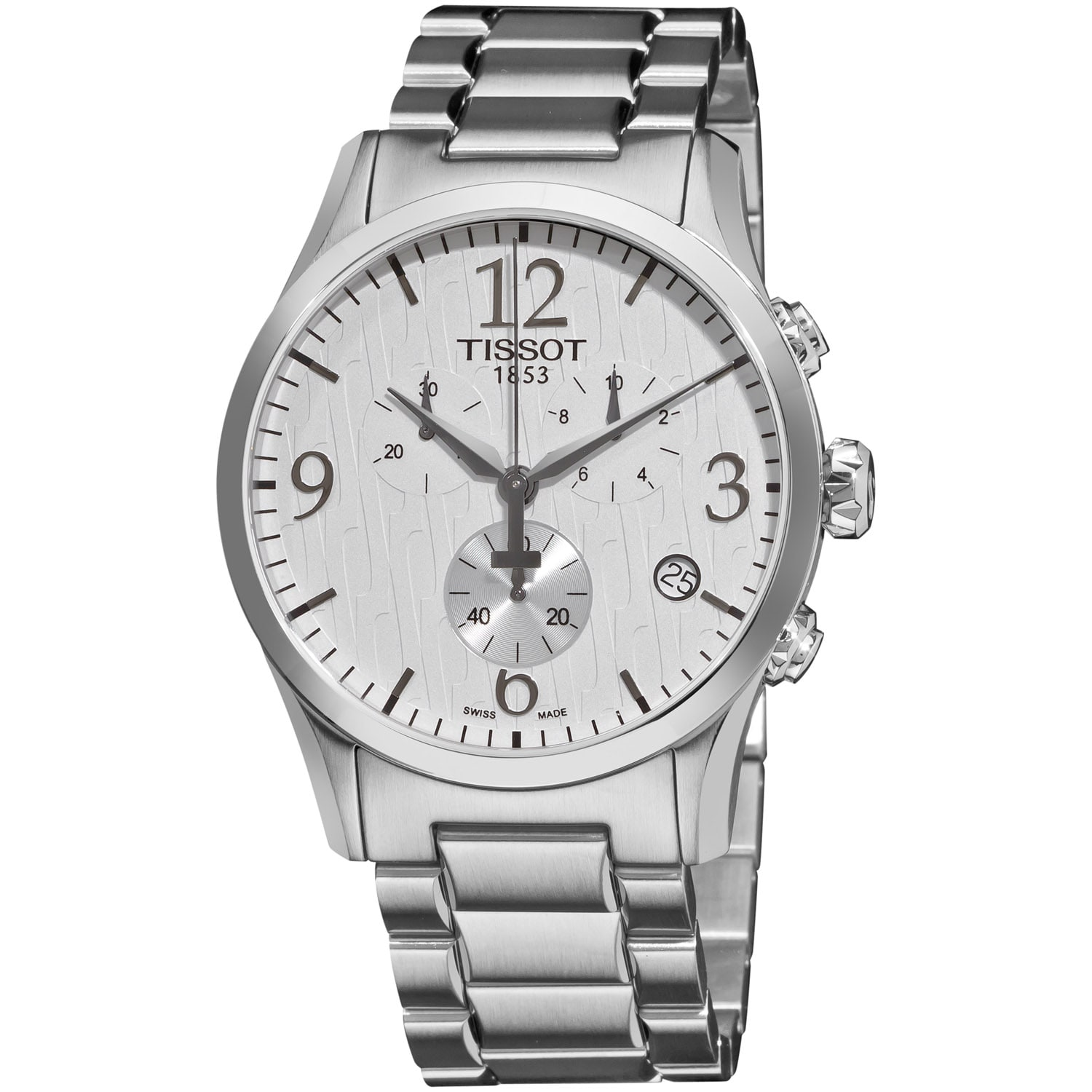 Tissot Men's 'T-Classic' White Dial Chronograph Stainless Steel Watch
