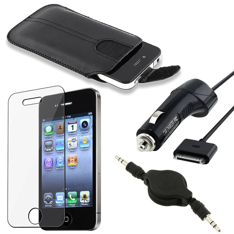 Leather Pouch/ Screen Protector/ Cable/ Charger for Apple iPhone 4S