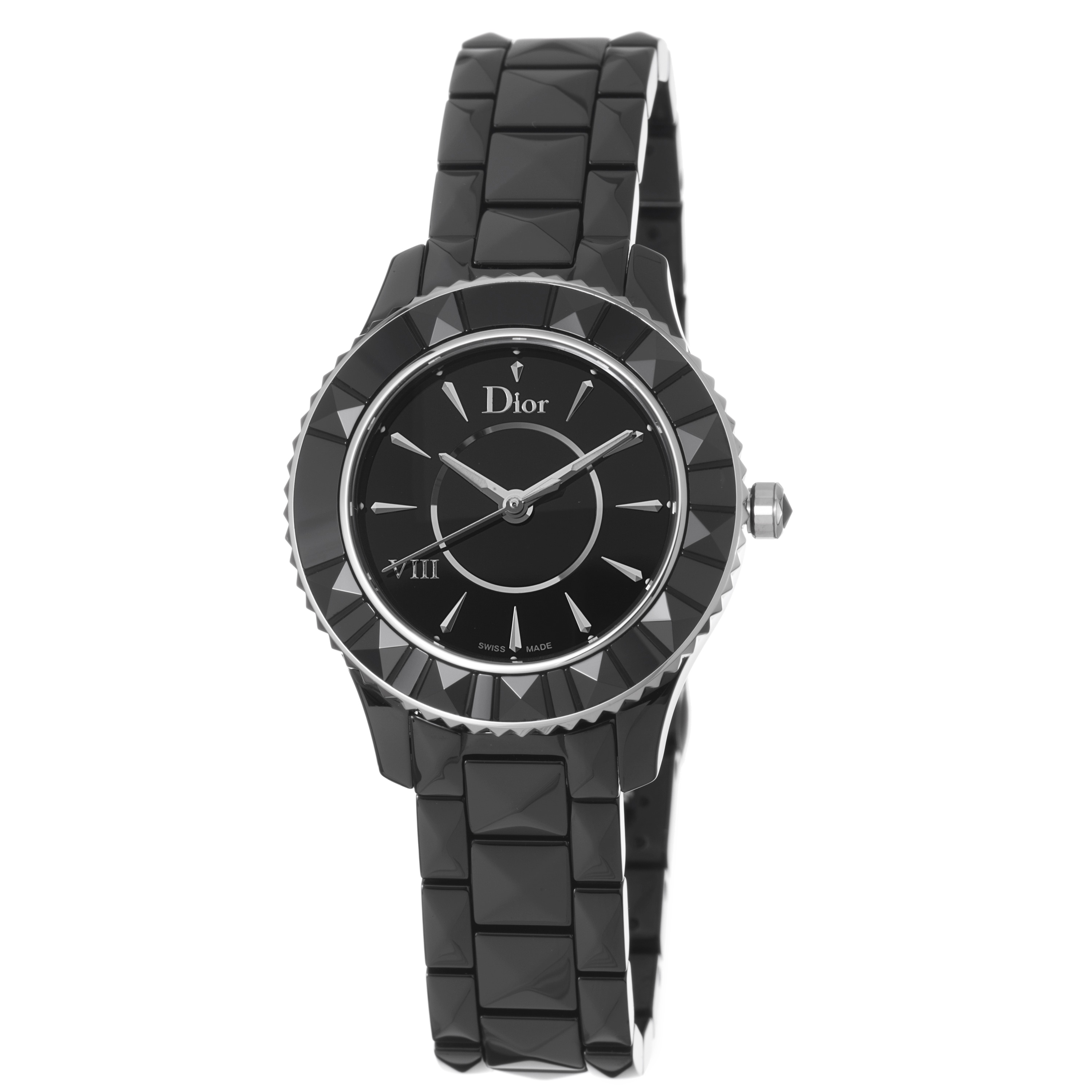 Christian dior women 39 s 39 black eight 39 black dial ceramic watch free shipping today overstock for Christian dior watches