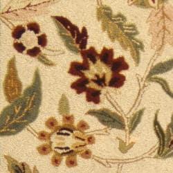 Safavieh Hand-hooked Ferns Ivory Wool Rug (2'6 x 8') - Thumbnail 2