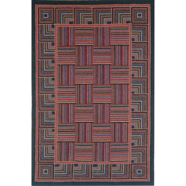 Safavieh Hand-hooked Squares Wool Rug (7'6 x 9'9)