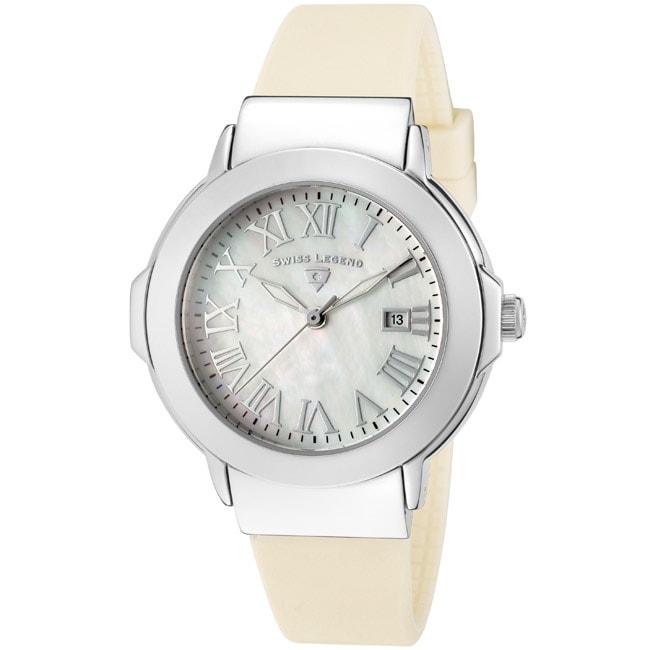 Swiss Legend Women's 'South Beach' Beige Silicone Watch