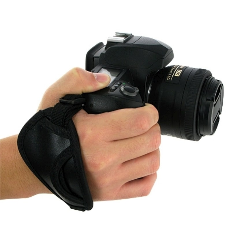 BasAcc Black Adjustable Camera Hand Strap with Microfiber Padding