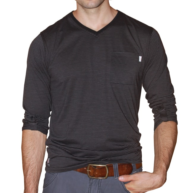 191 Unlimited Men's Black Stripe V-neck Tee
