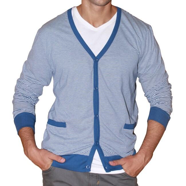 191 Unlimited Men's Blue Stripe Cardigan Sweater