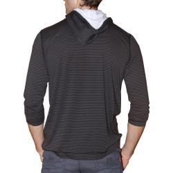 191 Unlimited Men's Brown Stripe Pullover Hoodie - Thumbnail 1