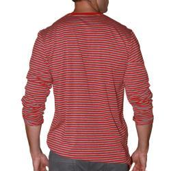 191 Unlimited Men's Red Stripe V-neck Shirt - Thumbnail 1