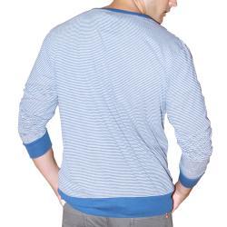191 Unlimited Men's Blue Stripe Cardigan Sweater - Thumbnail 1