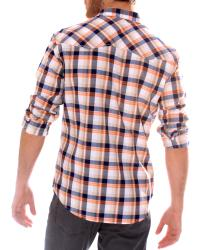 191 Unlimited Men's Orange Plaid Shirt
