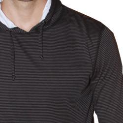191 Unlimited Men's Brown Stripe Pullover Hoodie - Thumbnail 2