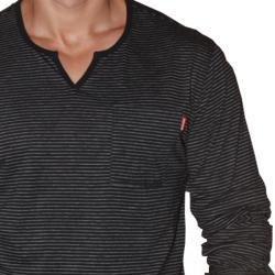 191 Unlimited Men's Black Long-sleeve Notched CrewneckT-shirt