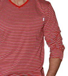 191 Unlimited Men's Red Stripe V-neck Shirt - Thumbnail 2