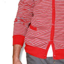 191 Unlimited Men's Red Stripe Cardigan Sweater
