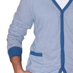 191 Unlimited Men's Blue Stripe Cardigan Sweater - Thumbnail 2