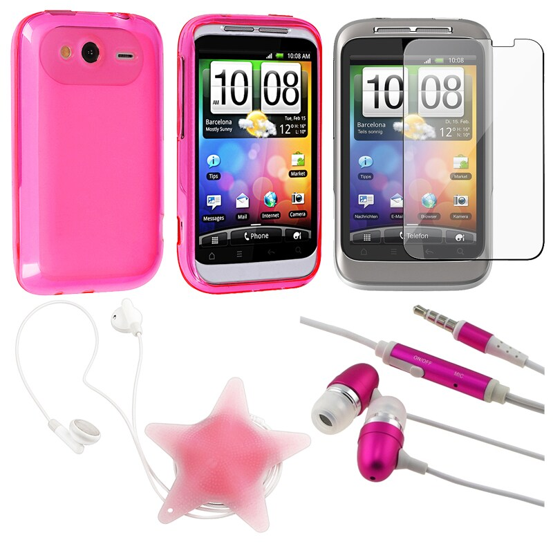 BasAcc Pink Case/ Screen Protector/ Headset/ Wrap for HTC Wildfire S