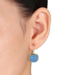 Miadora 14k Yellow Gold 18ct TGW Blue Chalcedony Leverback Earrings