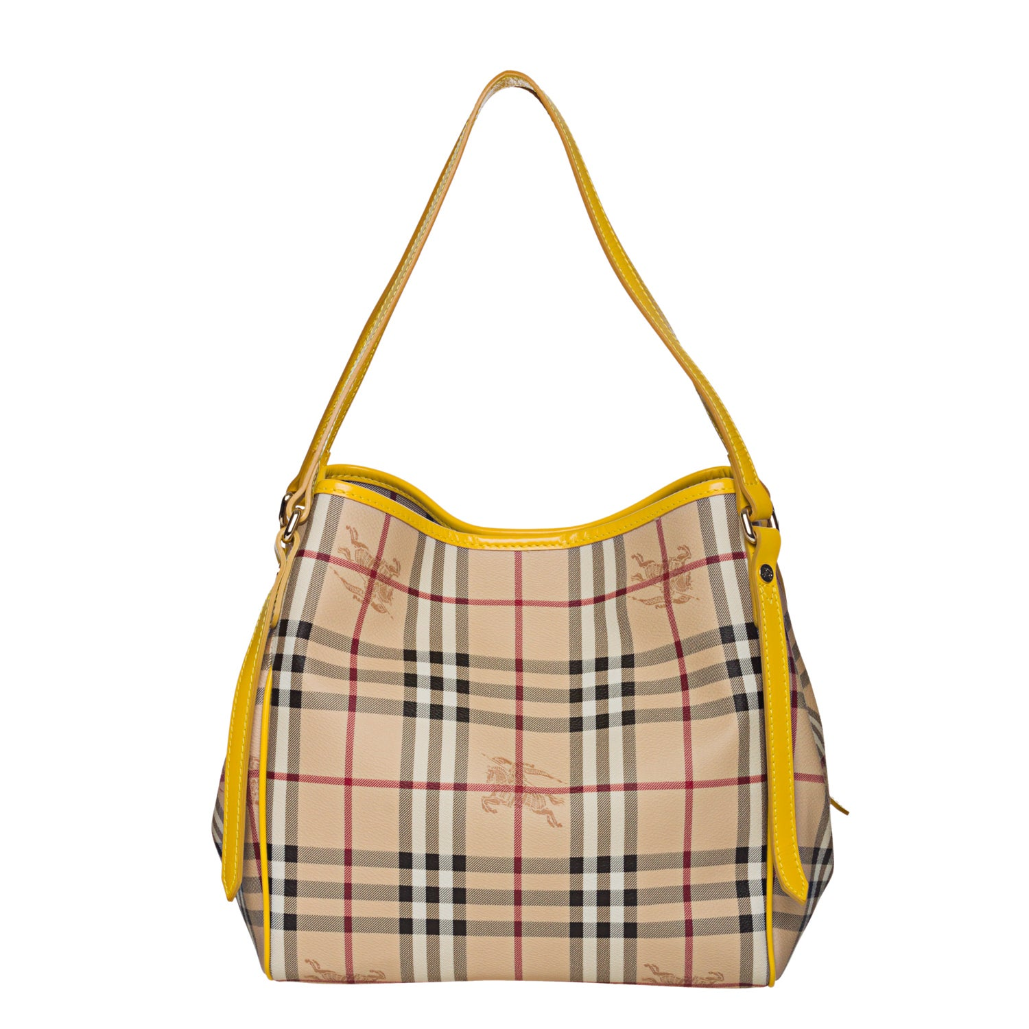 86baadfa231 ... Burberry 3799320 Small Haymarket Yellow Leather Trim Tote Bag  competitive price f1352 5e18c ...