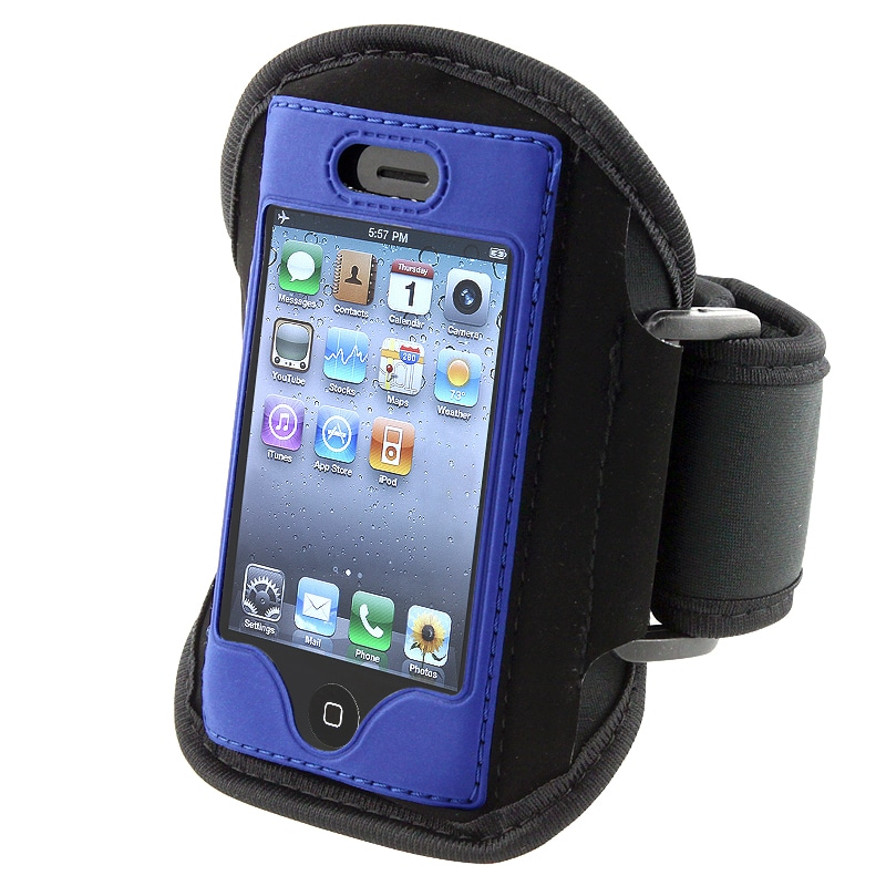 BasAcc Black with Blue Trim Armband for Apple iPhone 4S/ 3GS